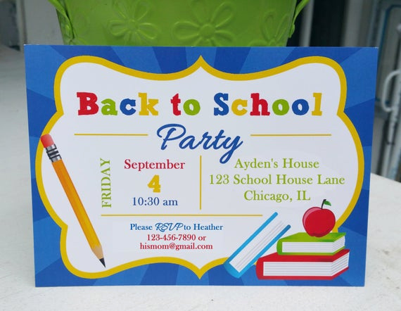 Back to School Party Invitation Lovely Back to School Invitation Printable or Printed with Free