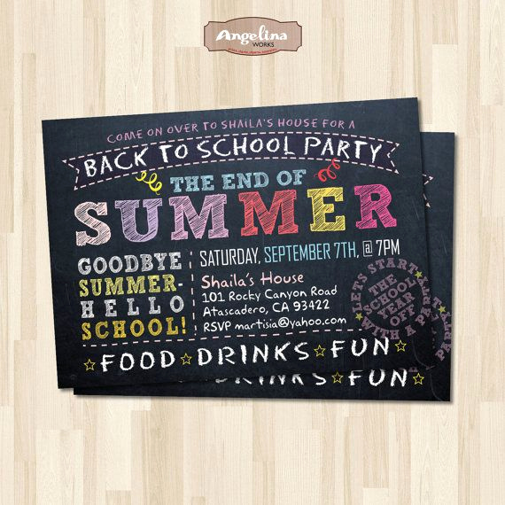 Back to School Party Invitation Lovely Back to School Party Invitation End Of Summer Party