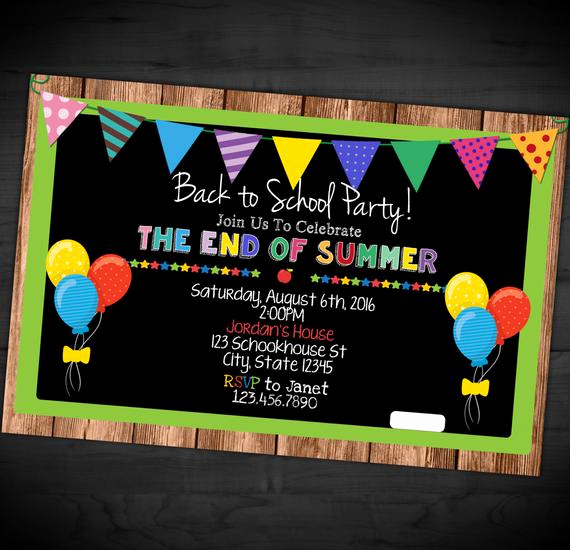 Back to School Party Invitation New Back to School Party Invitation End Summer Vacation