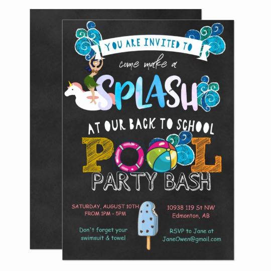 Back to School Party Invitation New Back to School Pool Party Invitation