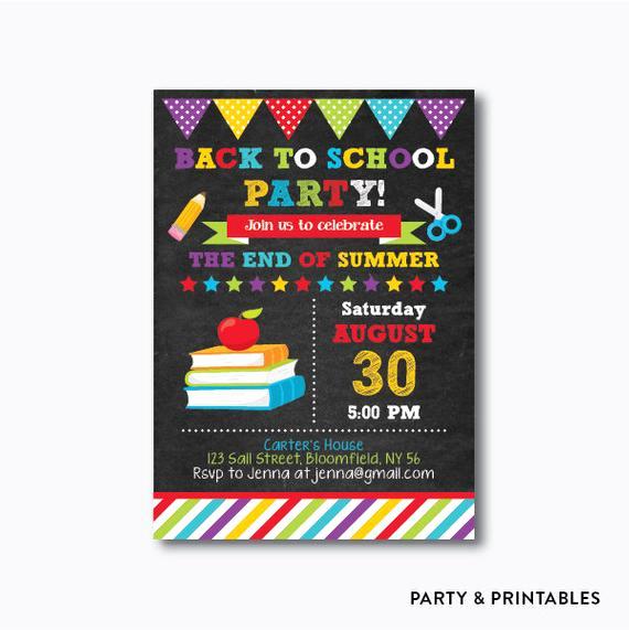 Back to School Party Invitation Unique Books and Apple Back to School Party Invitation School