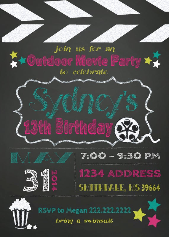 Backyard Movie Night Invitation Elegant Items Similar to Movie Birthday Party Invite Outdoor Movie