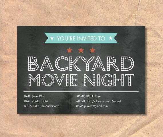 Backyard Movie Night Invitation Elegant Printable Movie Night Invitation Marquee Chalkboard