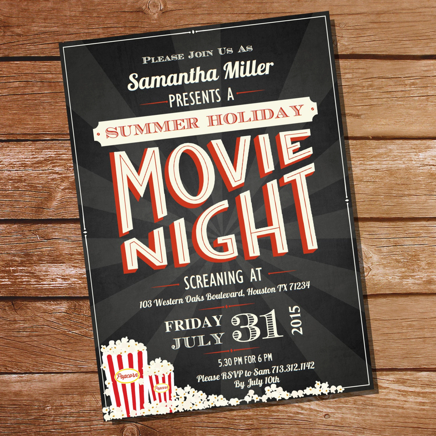 Backyard Movie Night Invitation Fresh Chalkboard Movie Night Party Invitation Movie Night