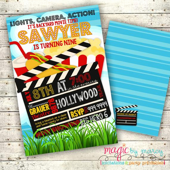 Backyard Movie Night Invitation Fresh Digital Summer Backyard Movie Night Party Invitation