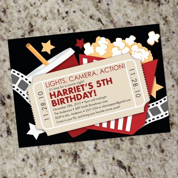 Backyard Movie Night Invitation Lovely Movie Birthday Party Invitation Movie Night Party