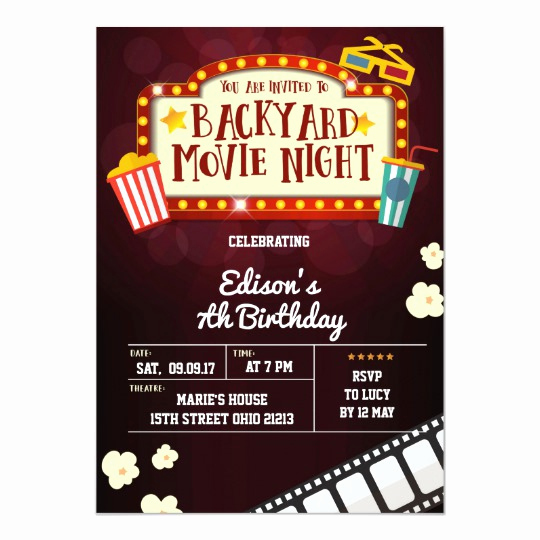 Backyard Movie Night Invitation New Backyard Movie Night Birthday Party Invitation