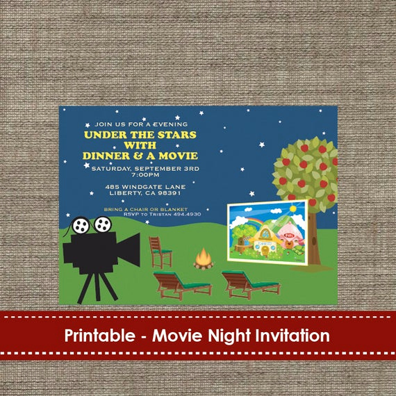 Backyard Movie Night Invitation New Backyard Under the Stars Movie Night Invitation Diy