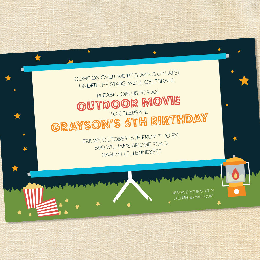 Backyard Movie Night Invitation New Sweet Wishes Outdoor Movie Under the Stars Party Invitations