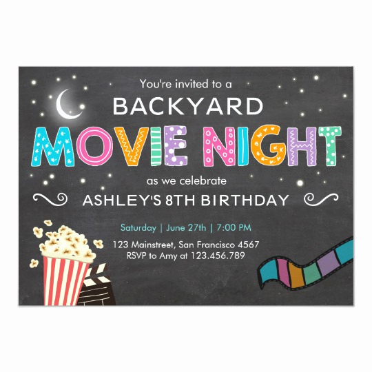 Backyard Movie Night Invitation Unique Movie Night Birthday Invitation Under the Stars