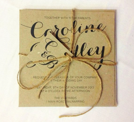 Backyard Wedding Invitation Wording Beautiful Brown Kraft Rustic with Twine Wedding Invitation and Rsvp