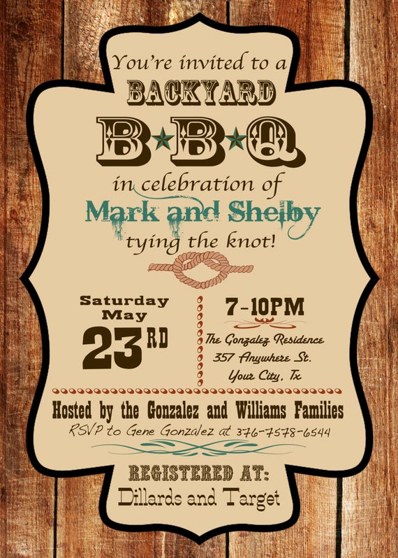 Backyard Wedding Invitation Wording Best Of Western Barn Wood Backyard Bbq Invitation Custom