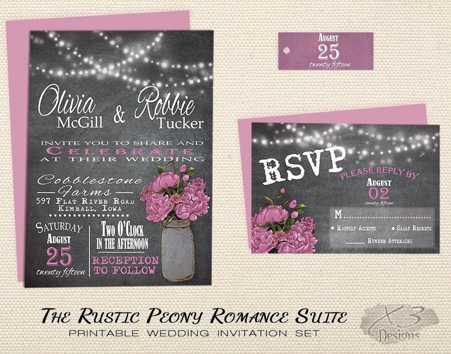 Backyard Wedding Invitation Wording New Mason Jar Rustic Wedding Invitation Set Printable