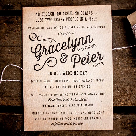 Backyard Wedding Invitation Wording Unique Rustic Wedding Invitation Suite the Gracelynn by