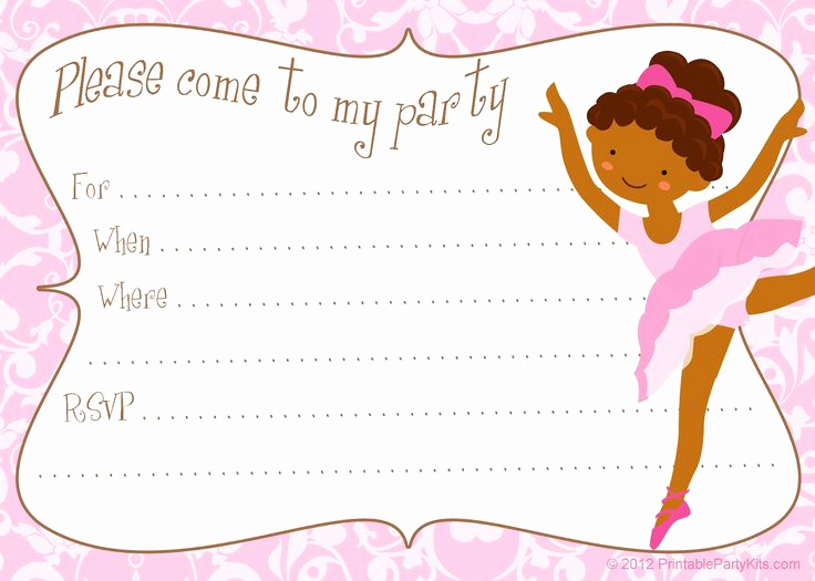 Ballerina Invitation Template Free Awesome Free Printable Diy Ballerina Invitation Template