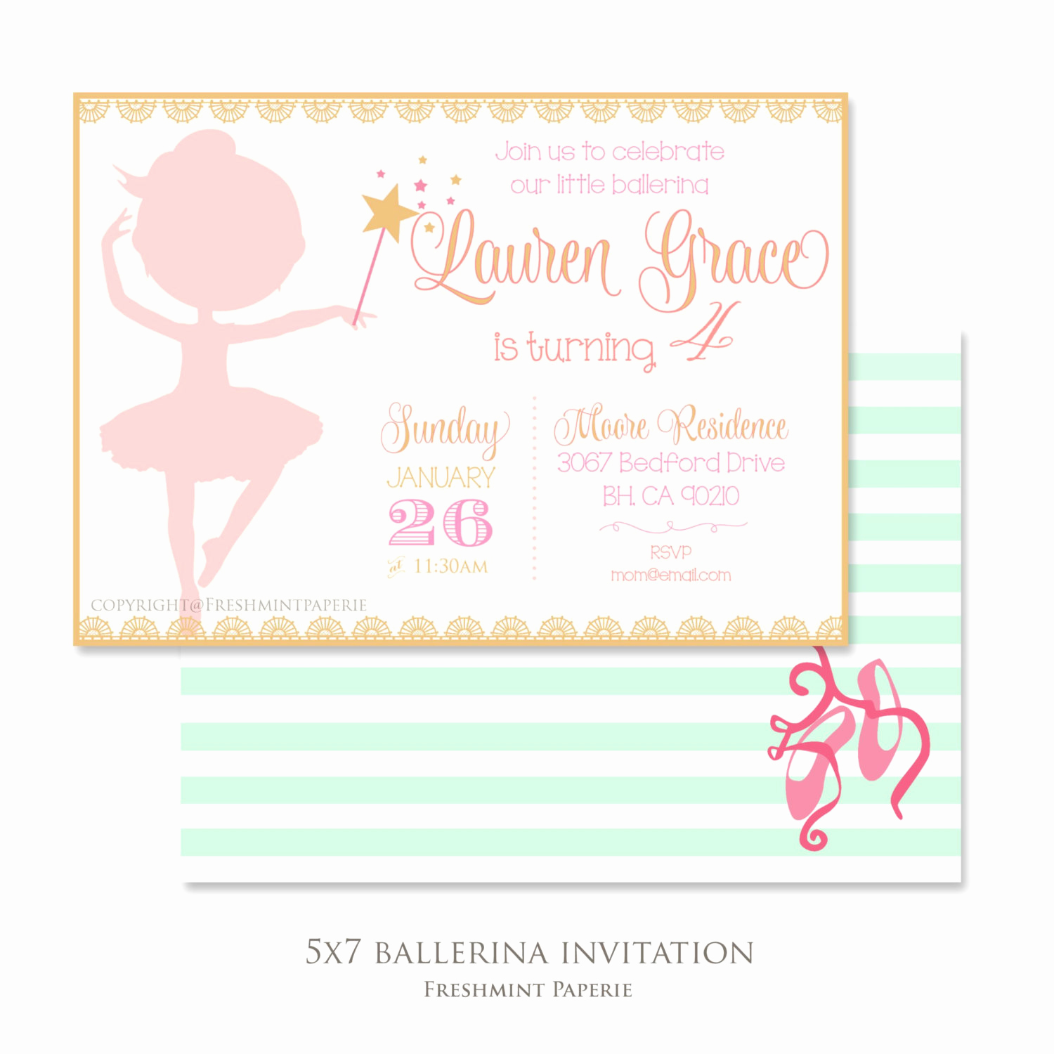 Ballerina Invitation Template Free Awesome Printable Invitations Ballerina Invitation Ballet