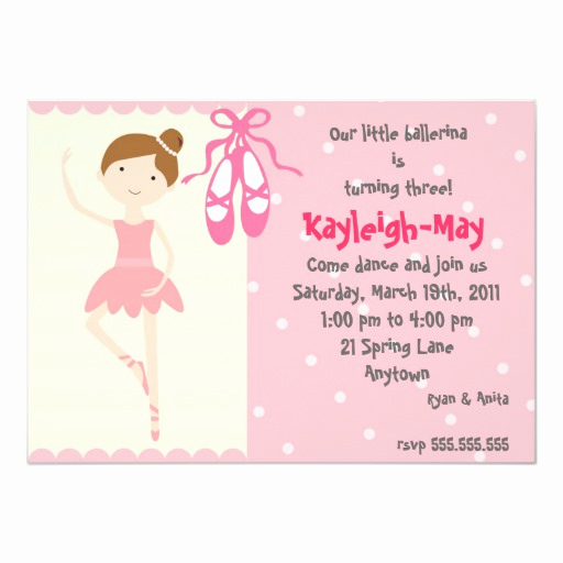 Ballerina Invitation Template Free Beautiful Ballerina Birthday Invitation