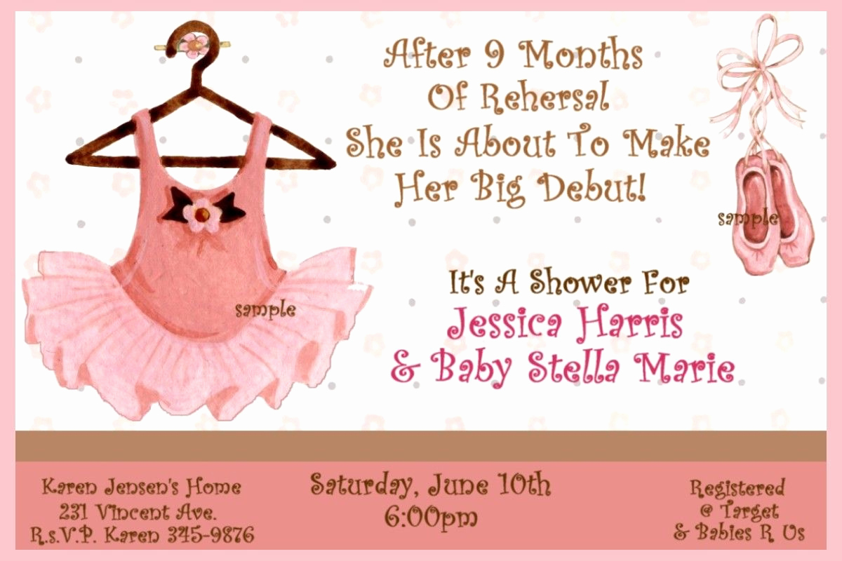 Ballerina Invitation Template Free Elegant Ballerina Baby Shower