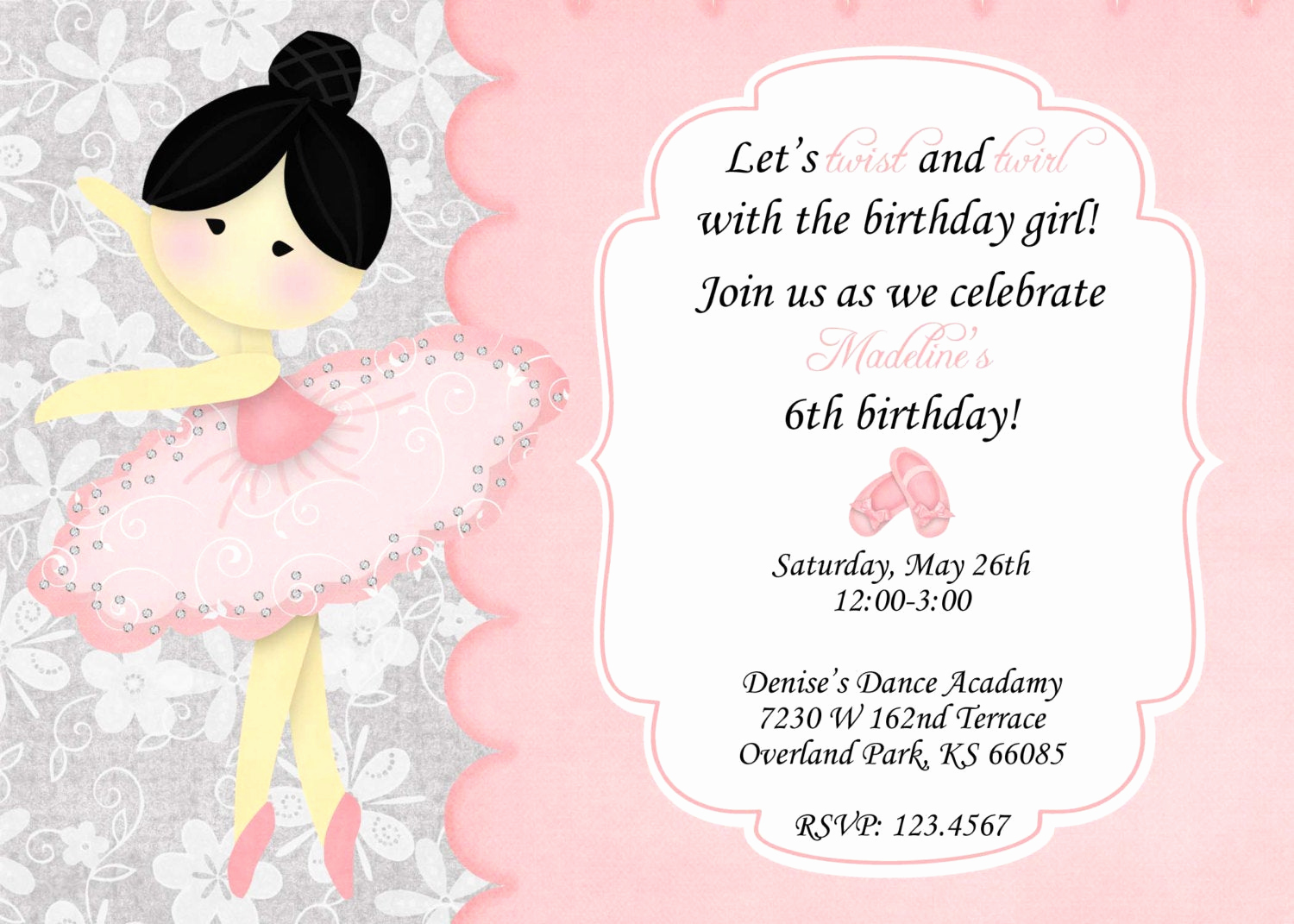 Ballerina Invitation Template Free Elegant Ballerina Birthday Invitation