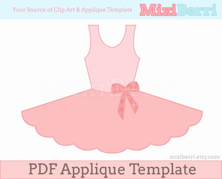 Ballerina Invitation Template Free Elegant Ballet Tutu Dress Applique Pattern Pdf Applique Template