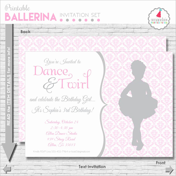 Ballerina Invitation Template Free Fresh Ballet Birthday Invitation Ballerina Party Invitation