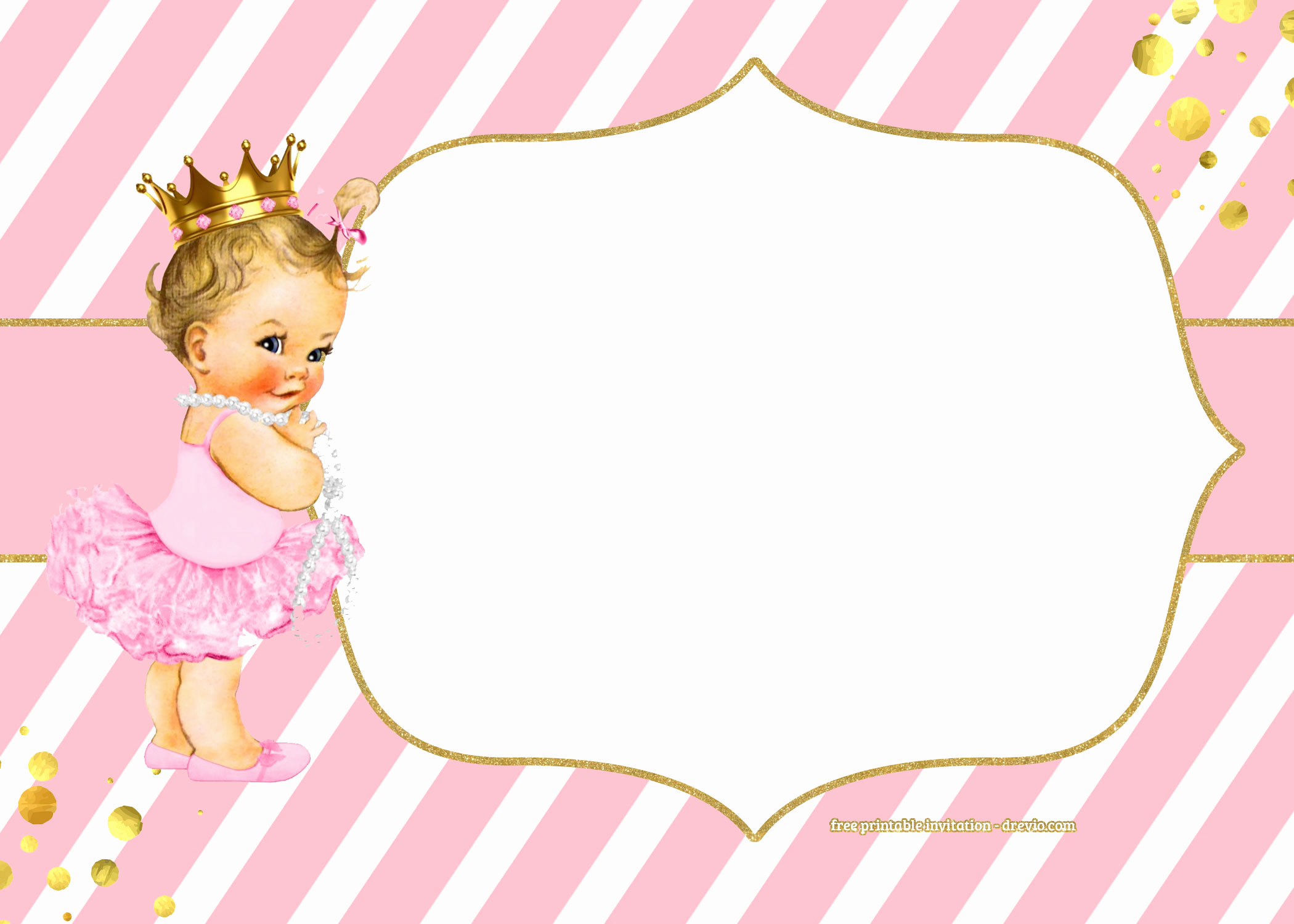 Ballerina Invitation Template Free Fresh Free Golden Ballerina Birthday Invitation Templates