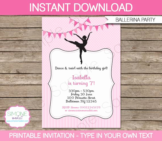 Ballerina Invitation Template Free Inspirational Ballerina Invitation Template Birthday Party Instant