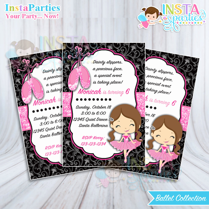 Ballerina Invitation Template Free Lovely Ballet Invitations Ballerina Invitation Dancer Girl