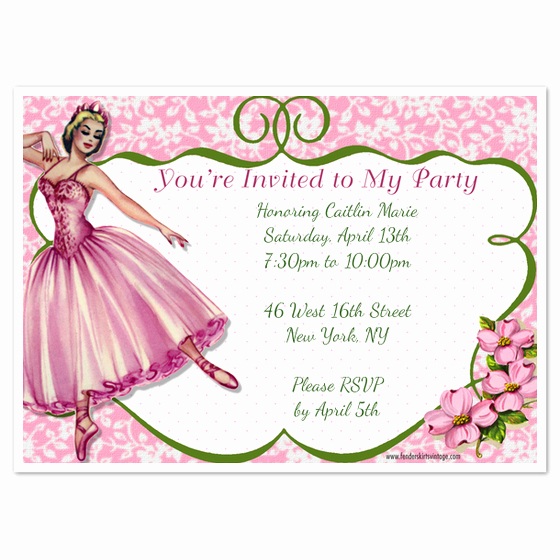 Ballerina Invitation Template Free Lovely Vintage Ballerina Party Invitations & Cards On Pingg