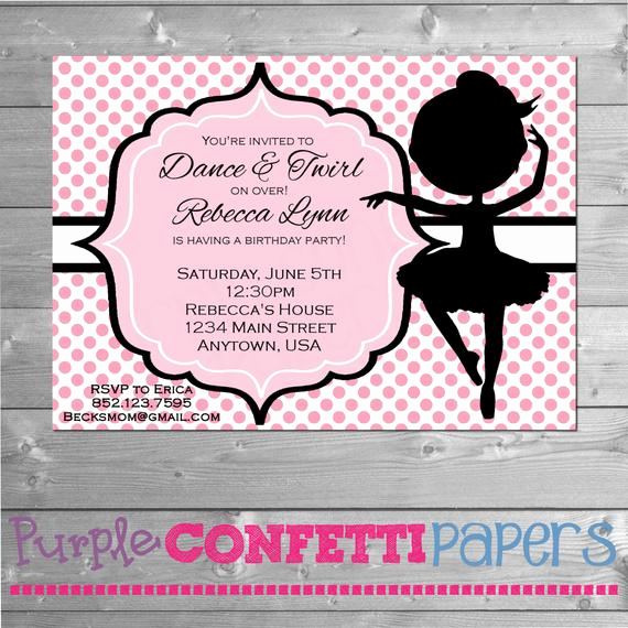 Ballerina Invitation Template Free Luxury Ballerina Birthday Invitation Dance Party Invitation