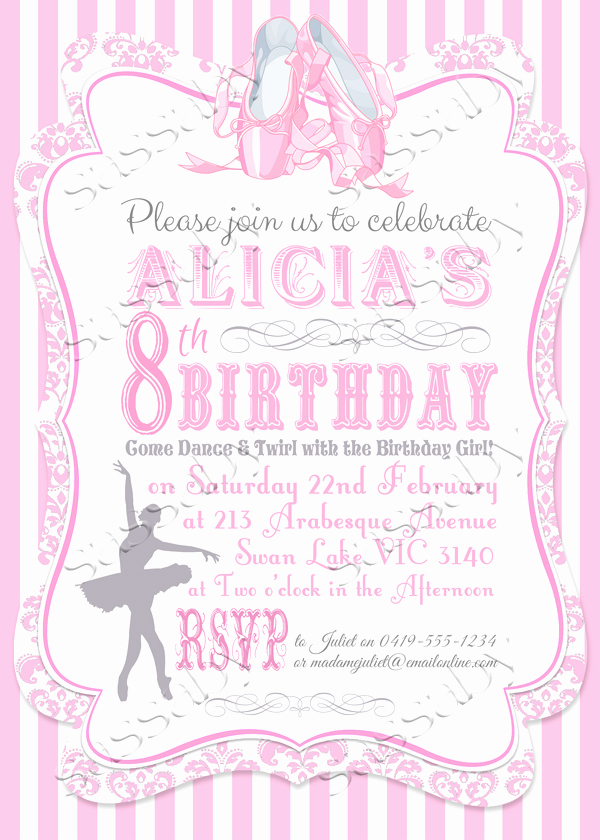 Ballerina Invitation Template Free Luxury Ballerina Invitation