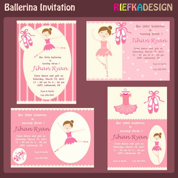 Ballerina Invitation Template Free New Ballerina Invites Blank Invitation Template for by Riefka
