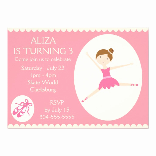 Ballerina Invitation Template Free Unique Pink Ballerina Birthday Party 5x7 Paper Invitation Card