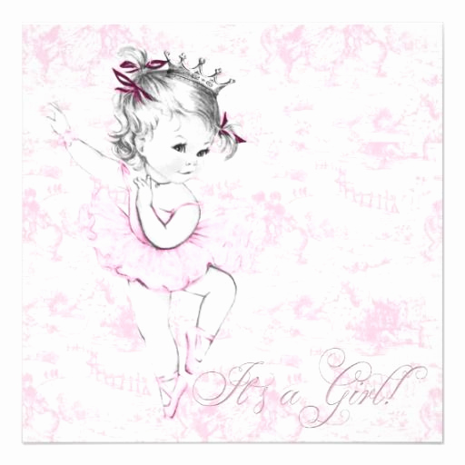 Ballerina Tutu Invitation Template Beautiful Sweet Ballerina Pink toile Baby Shower Invitation