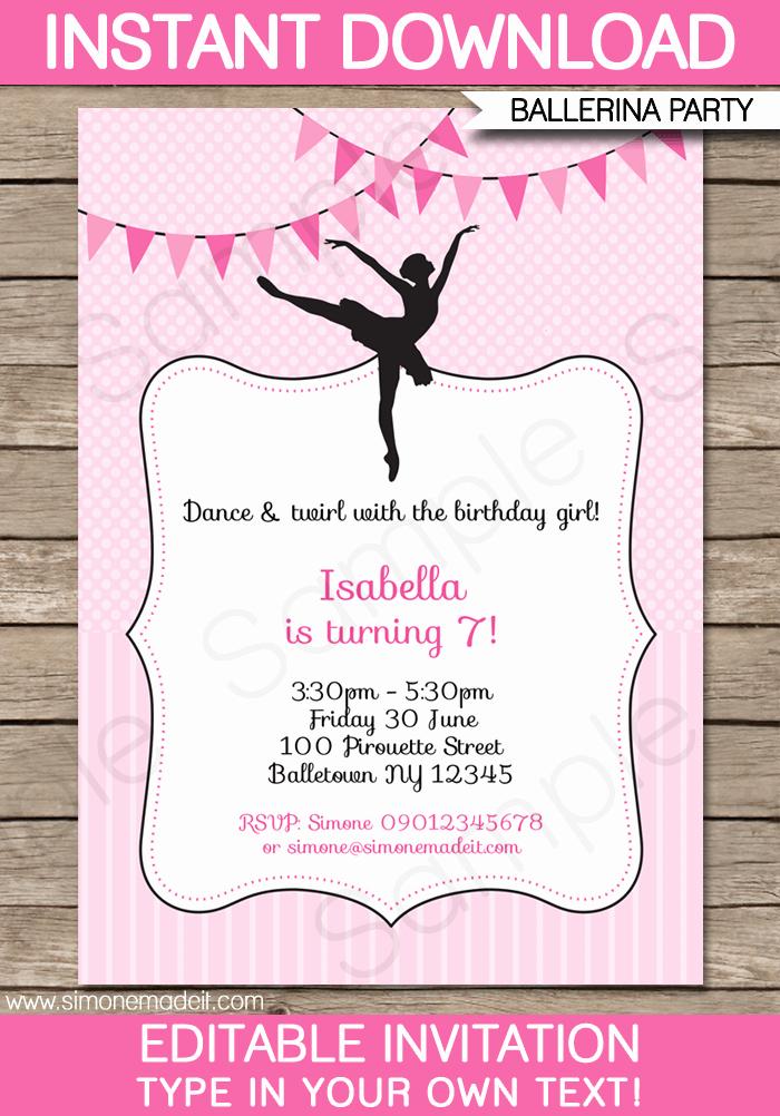 Ballerina Tutu Invitation Template Fresh Ballerina Party Invitations Template