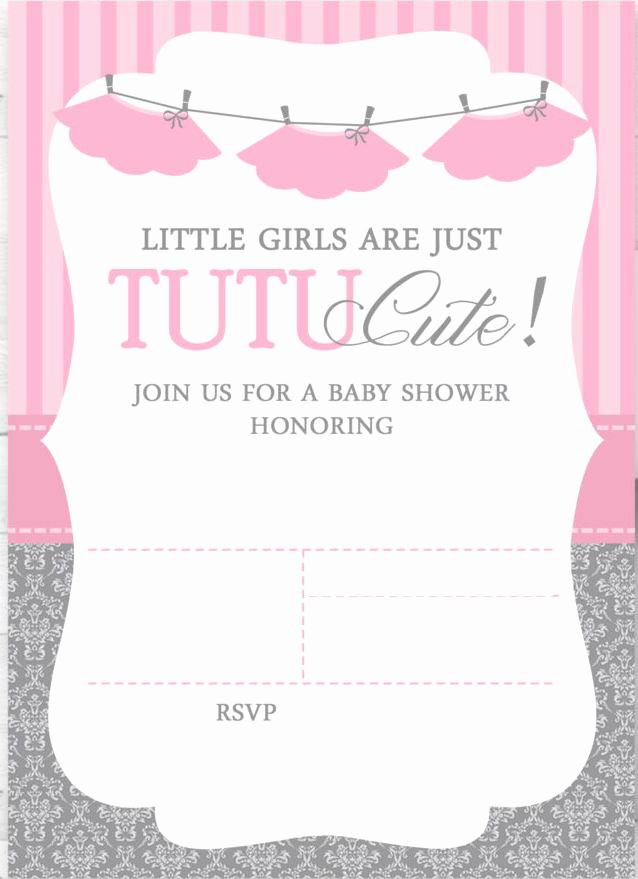 Ballerina Tutu Invitation Template Fresh Cute Ballerina Baby Shower Invitations Free