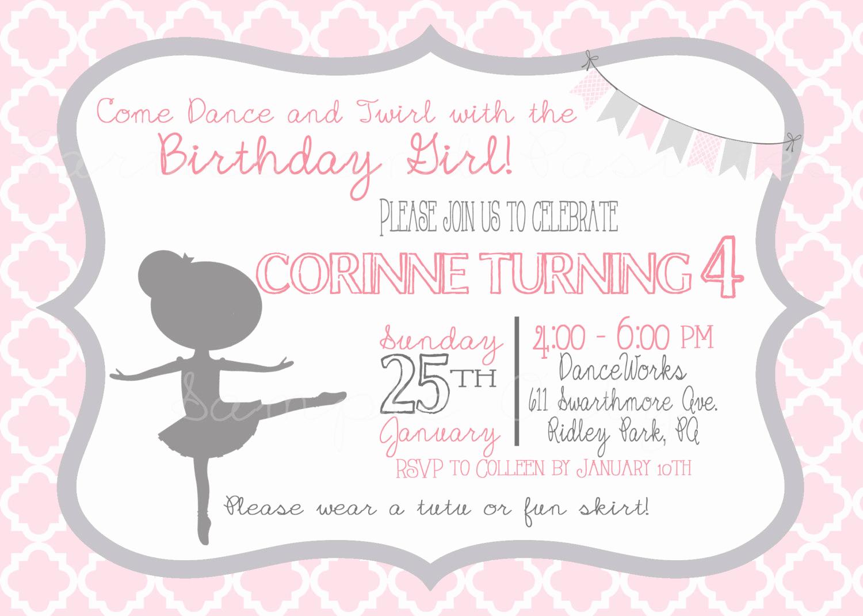 ballerina birthday invitation photo