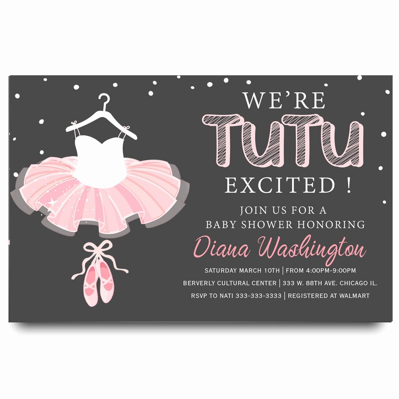 Ballerina Tutu Invitation Template Unique Tutu Baby Shower Invitation Ballerina Baby