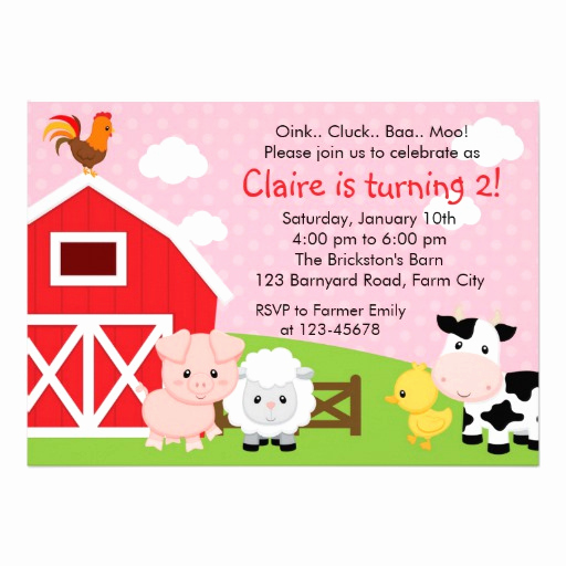 "Barnyard Birthday Invitation Templates Elegant Farm Birthday Invitation Girl Pink Barnyard 5"" X 7"