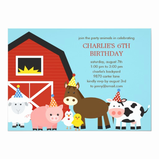 Barnyard Birthday Invitation Templates Fresh Farm Animals Birthday Party Invitation
