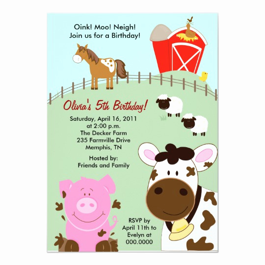 Barnyard Birthday Invitation Templates Lovely Farm Babies Barnyard 5x7 Birthday Invitation