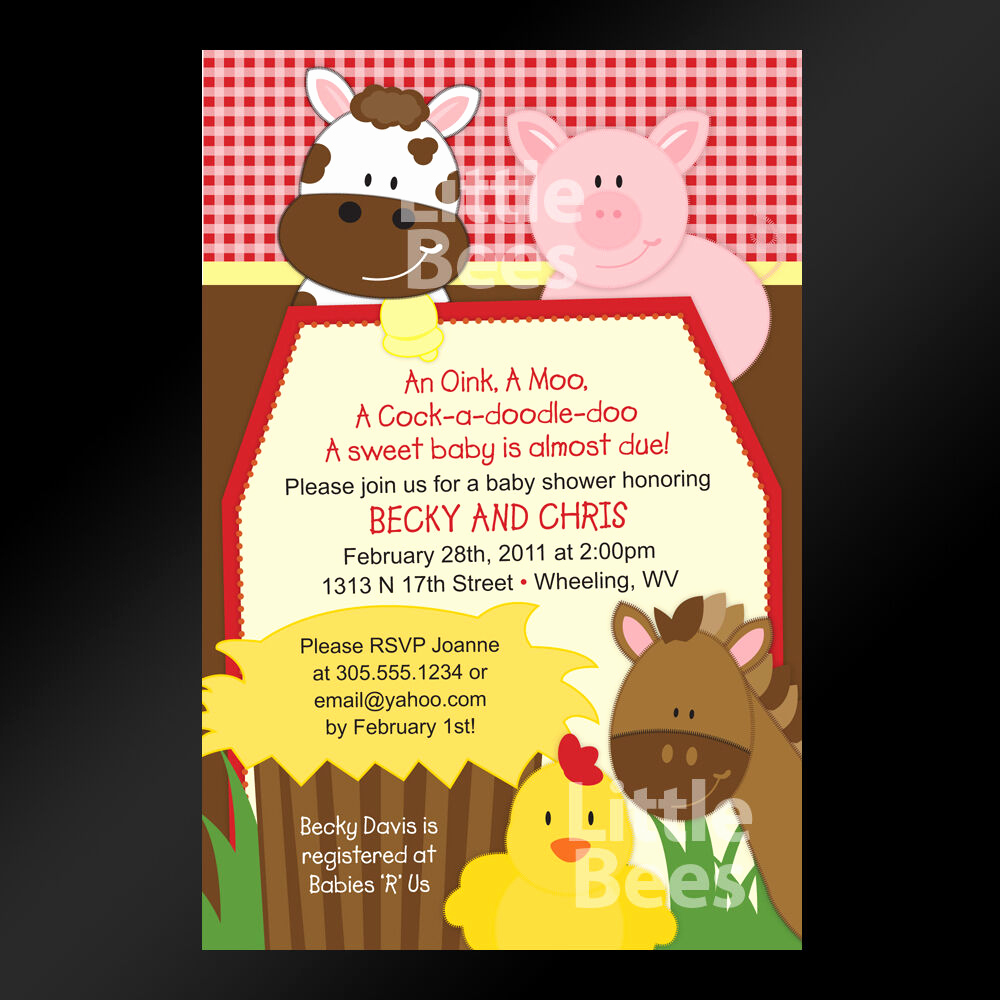 Barnyard Birthday Invitation Templates Lovely Gingham Farm Animals Barnyard Printable Baby Shower or