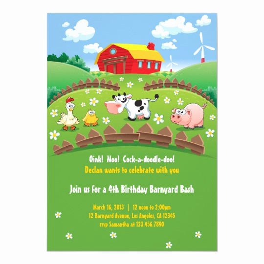 Barnyard Birthday Invitation Templates Luxury Barnyard Farm Kids Birthday Invitations