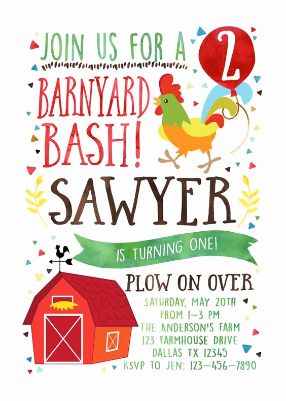 Barnyard Birthday Invitation Templates Luxury Farm Birthday Invitation Barnyard Birthday by