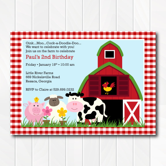 Barnyard Birthday Invitation Templates New Barnyard Invitation Farm Invitation Barnyard Birthday