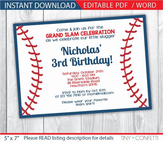Baseball Invitation Template Free Elegant Baseball Invitation Baseball Party Invitation Baseball