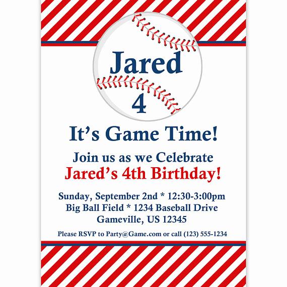 Baseball Invitation Template Free Fresh Baseball Invitation Red Striped Baseball Ball Personalized
