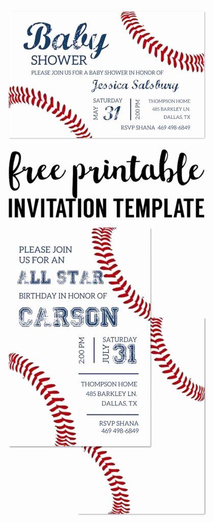 Baseball Invitation Template Free Lovely Baseball Party Invitations Free Printable
