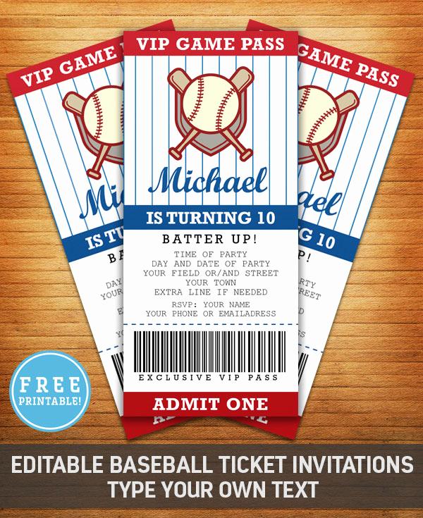 Baseball Invitation Template Free Luxury Baseball Birthday Party Invitation Free Printable M Gulin