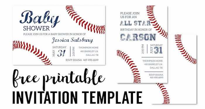 Baseball Invitation Template Free Luxury Baseball Party Invitations Free Printable Paper Trail Design